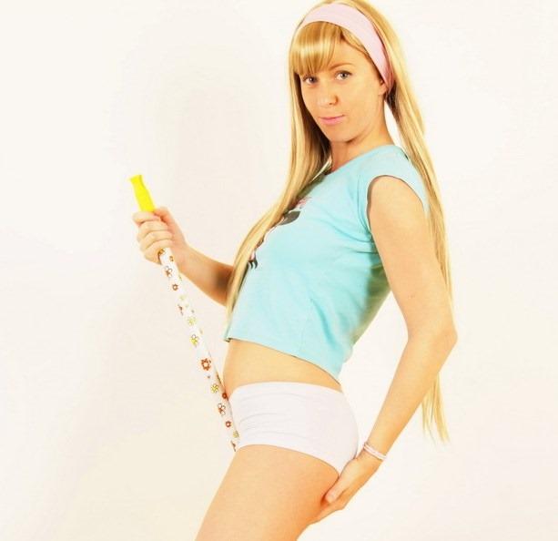girl playing naughty with baton